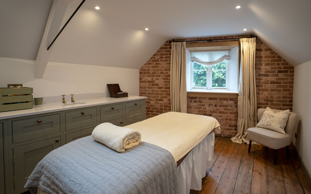 The main treatment room at The Potting Shed Bradley Park near Frome